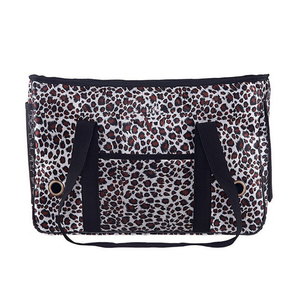 Pet Bag Leopard Removable Pad Cat Dog Carrying Multiple Pockets Cat Dog Portable Foldable Handbag Tote Crate Travel Bag