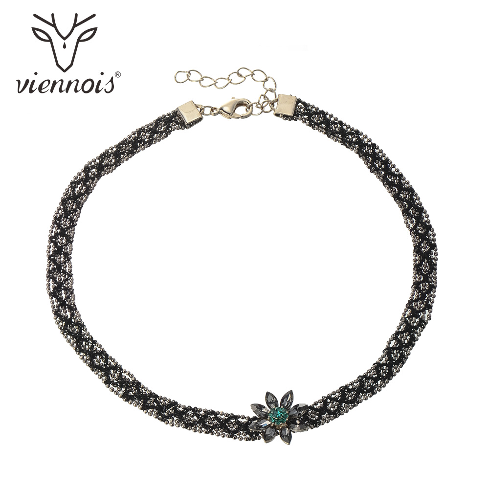 Viennois Copper Choker Necklaces AAA Zircon Flower Pendant Black Chokers Trendy Chain Necklaces
