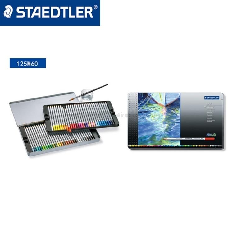 STAEDTLER 125 M60 60 lápices de colores solubles en agua para caja de embalaje de estaño lápices de color de dibujo profesional Oficina y escuela