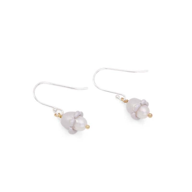 Perle naturelle mode 925 Tremella crochet boucles d'oreilles muguet Simple exquise boucles d'oreilles élégant femmes lumière luxe cadeaux