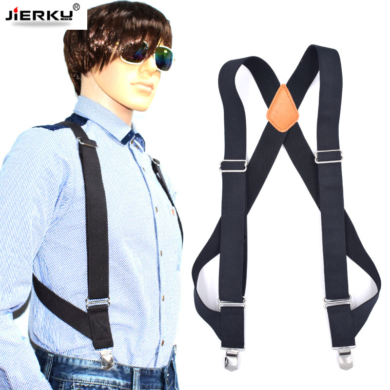 JIERKU Genuine Leather Suspenders Man's Braces Outdoor Work Suspenders Suspensorio Trousers Strap Father/Husband's Gift  YT001