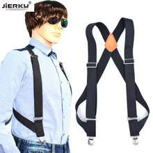 JIERKU Genuine Leather Suspenders Man's Braces Outdoor Work Suspenders Suspensorio Trousers Strap Father/Husband's Gift YT001