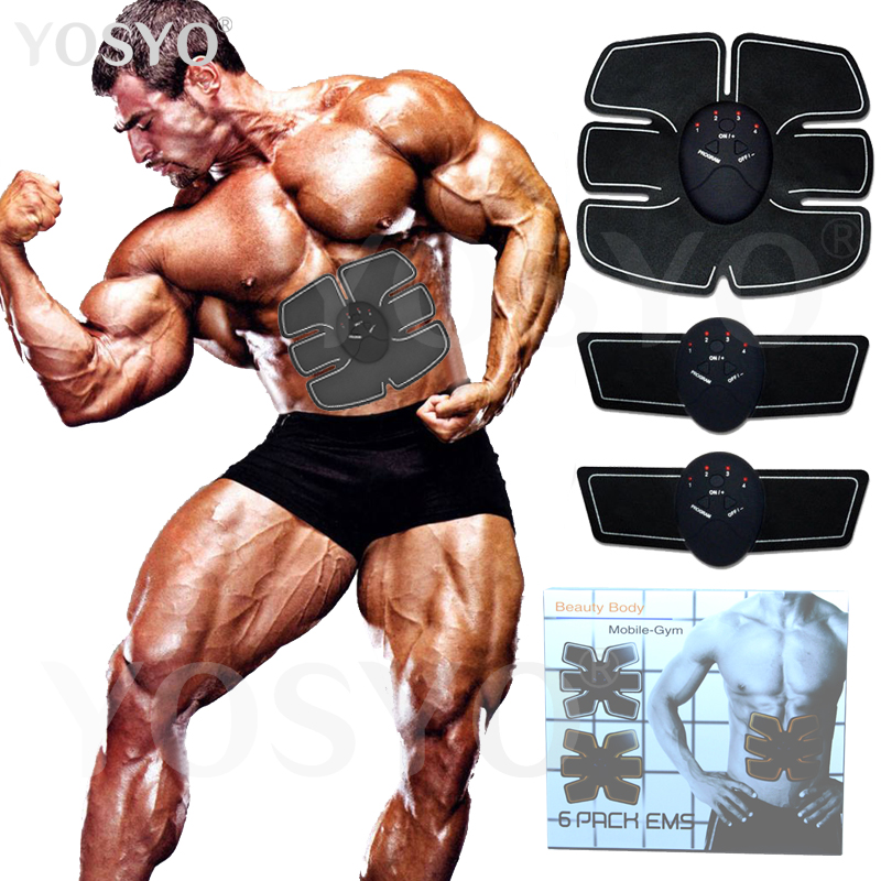 2018 EMS Muscle Stimulator Abdominal Machine Electric ABS Wireless Trainer Fitness Weight Loss Body Slimming Massage Retail box
