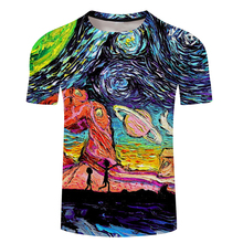 3d Mens Rick And Morty Ricks T Shirt Short Sleeve Ricky T-shirt Tshirt Anime Whirlpool Painting Space Short Sleeve Dropship