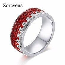 ZORCVENS 5 Reihe Linien Rot Blau Schwarz Farbe CZ Stein Hochzeit Ring Für Frauen Edelstahl Ring Party Weibliche Finger schmuck