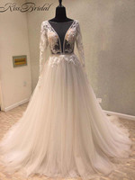 2018 Modest Wedding Dresses Long Sleeve Sexy Backless Appliqued Tulle Bride Wedding Gowns Vestido De Noiva
