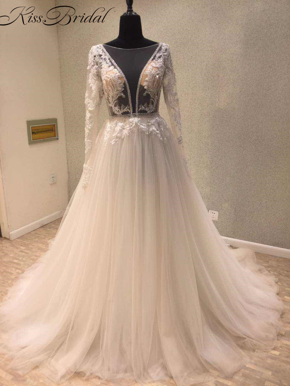 2018 Modest Wedding Dresses Long Sleeve Sexy Backless Appliqued Tulle Bride Wedding Gowns Vestido de noiva