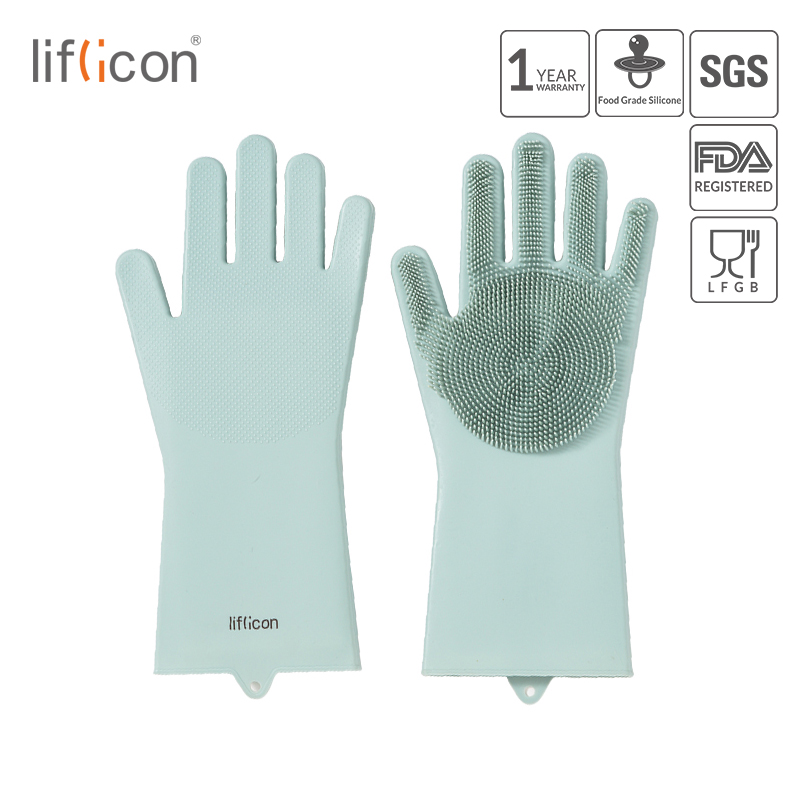 Liflicon Magic Silicone Scrubber Rubber Cleaning Gloves Dusting Dish Washing Dishwashing Kitchen Wash Houskeeping