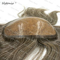 Silicon Hair Tie Toupee Injected Silk Top Humanhair Mini System Free Style Brown With 60% White Hair H067