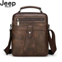 JEEP BULUO New Classic Crossbody Shoulder Bag For 9.7 iPad Big Size Men Messenger Bags High Quality Mens Leather Tote Handbag
