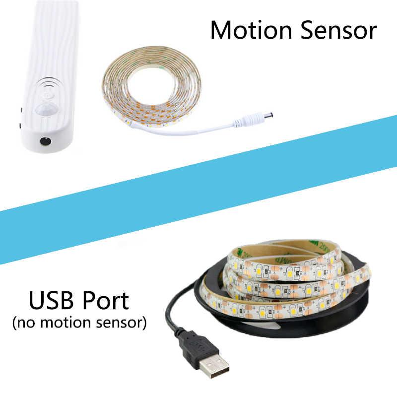 PIR Sensor de movimiento LED Luz de tira de 2835 DC 5 V de con la caja de la batería impermeable cama del armario del Gabinete de la Luz 1 m 2 m 3 m tira de LED de cinta