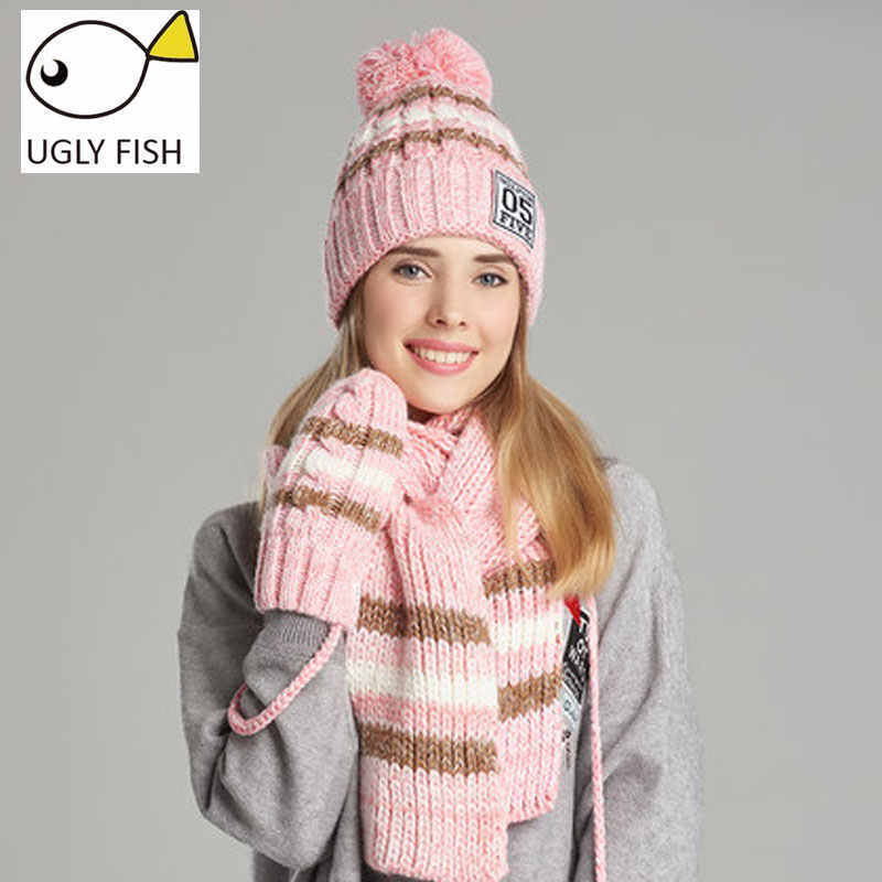 c3193dd7d6b ... woman winter hat and gloves sets cotton fashion women hat scarf gloves  set solid hat and
