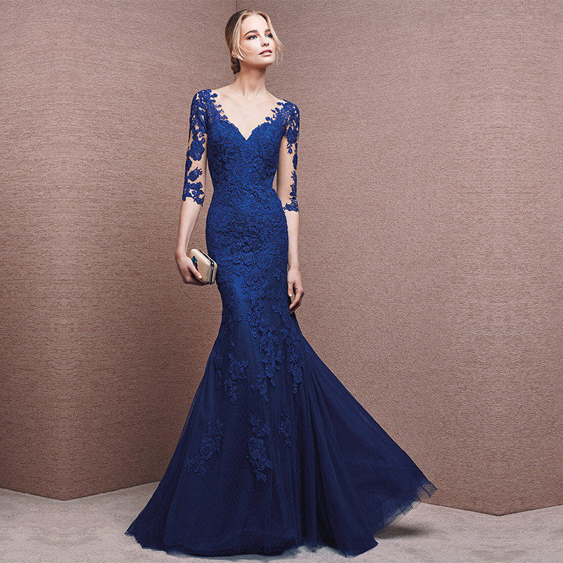 Automne Élégant Sexy Bleu Moitié Manches Dentelle V-cou Robe Longue Pour Les Femmes Robes Banquet Partie de Femmes Robes robes de fiesta