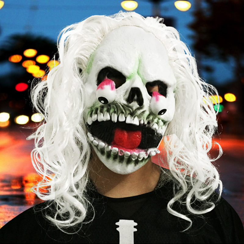 buy clown skull mask horror halloween masks for women men eyeball devil party wrapped head scary mask long white hair mj069 from reliable