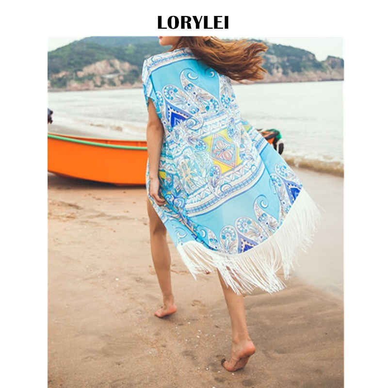 Bohemian Blue Print Short Sleeve Fringed Mid-Calf Beach Wear Chiffon Kimono  Cardigan Plus Size efe222c732f2