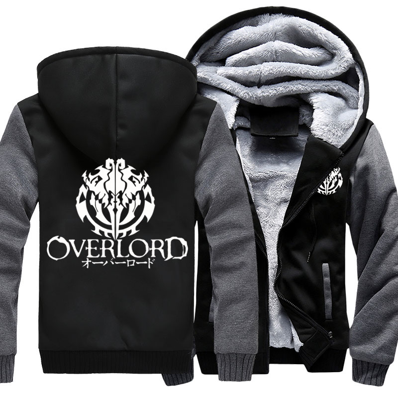 Fashion Men's Hooded Anime Overlord Fleece Thicken Hoodie Unisex Hoodies & Sweatshirts Hoody Jacket Coat US Size 4 Colors