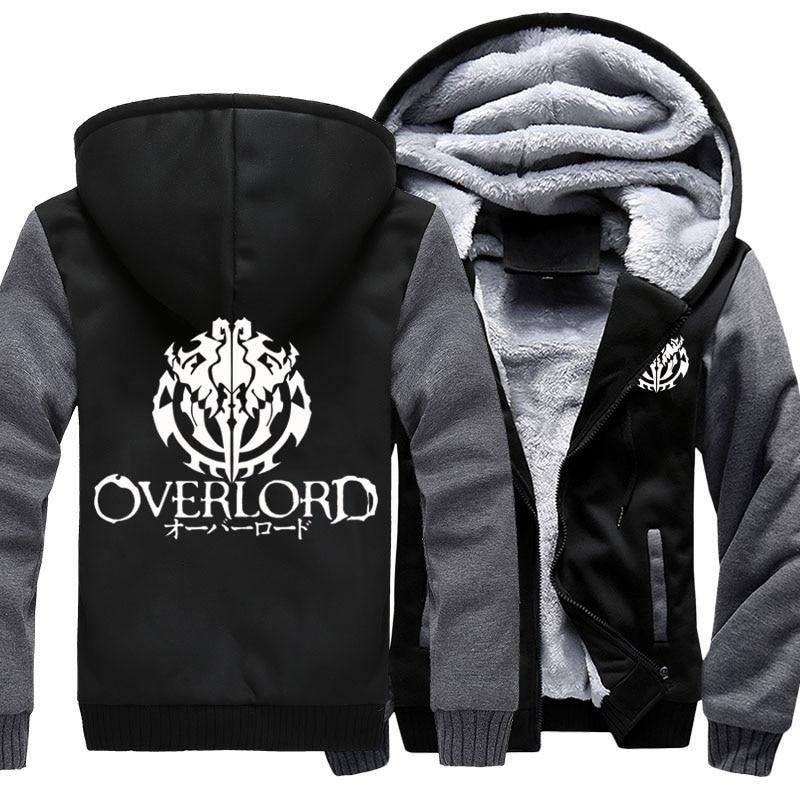 Fashion Men's Hooded Anime Overlord Fleece Thicken Hoodie Unisex Hoodies & Sweatshirts Hoody Jacket Coat US Size 4 Colors