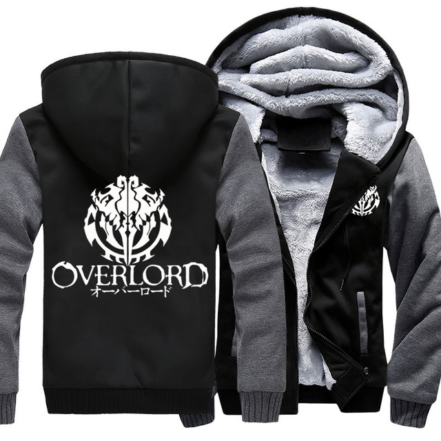 Fashion Mens Hooded Anime Overlord Fleece Thicken Hoodie Unisex Hoodies & Sweatshirts Hoody Jacket Coat US Size 4 Colors