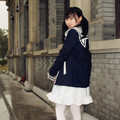 Cute Cat ears Sailor collar Navy Jacket Soft Preppy style Student Girl Casual loose long-sleeve Japan HARAJUKU Fresh outerwear