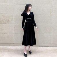 Fashion korean women comfortable casual velvet formal dress new arrival elegant temperament trend party sweet a line dress