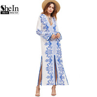 SheIn Ladies Spring Dresses 2017 Blue And White Vintage Print Deep V Neck Long Sleeve Pom