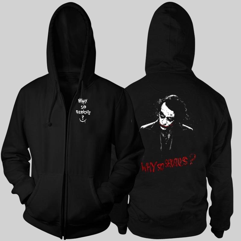 Batman Joker Jack Napier Why so serious Zip up Cotton Black Printing Pattern Sweatshirts Hoodies Coats