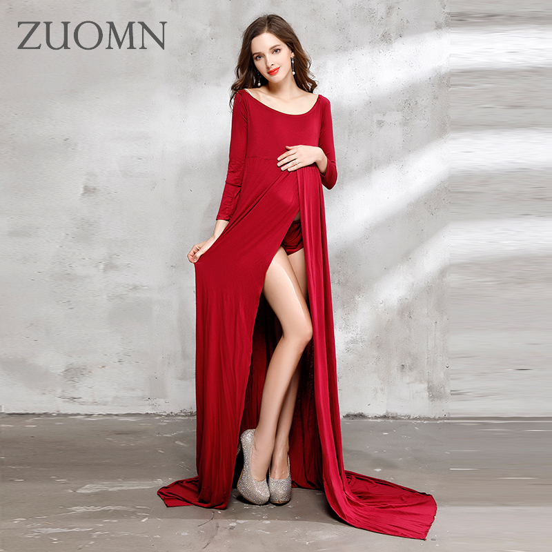 2017 Maternity Photography Props Pregnancy Blue Dress Pregnant Photo Shoot Pregnancy Clothes Maternity Red Pink Dresses YL523