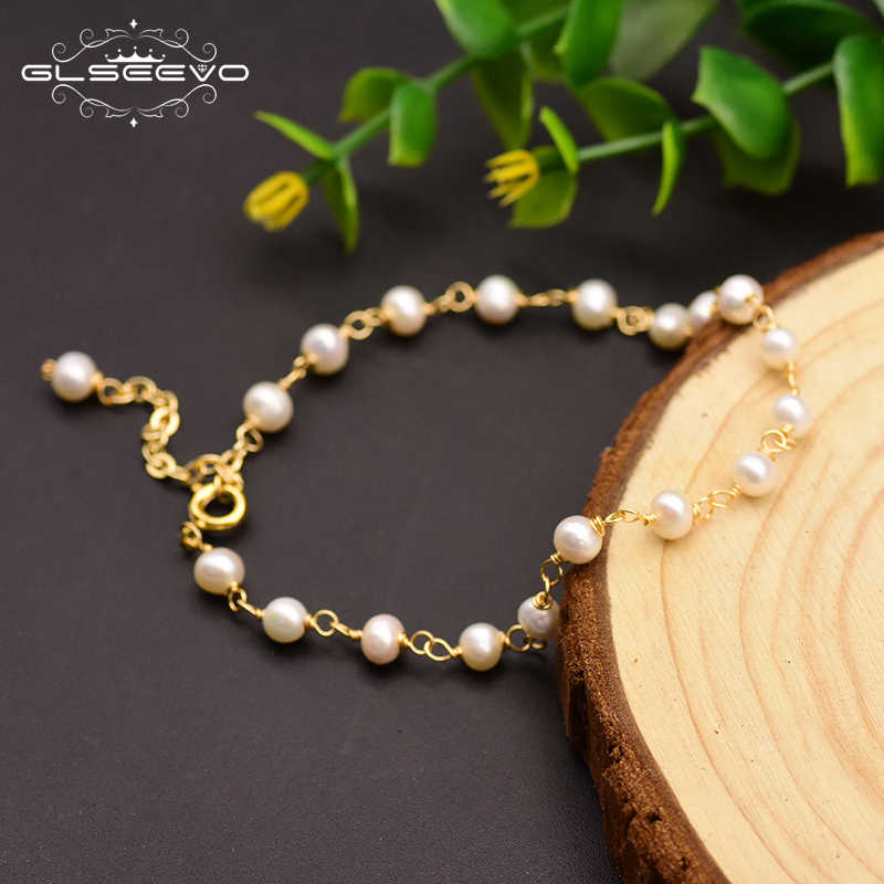 GLSEEVO Original 925 Sterling Silver Natural Fresh Water Pearl Adjustable Handmade Bracelet For Women Gift Fine Jewelry GB0142