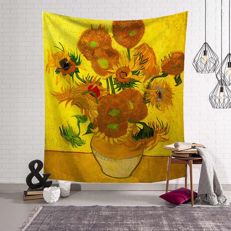 ジオメトリ有名なゴッホプリントタペストリー壁掛けひまわりタペストリー装飾毛布生地寝室の 200 × 150 センチメートル大