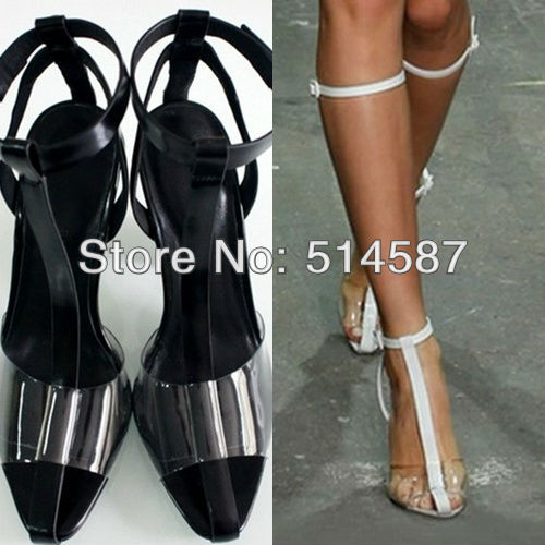 designer black and white pvc transparent high heels