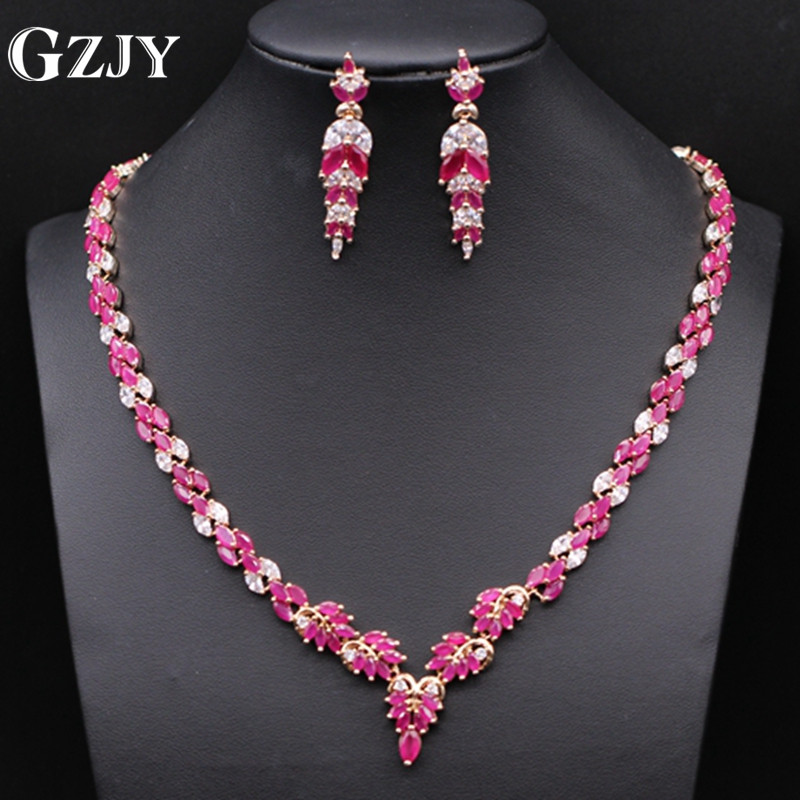 GZJY Fashion wedding bridal jewelry necklace earrings set for women gold color necklace marriage Red zirconia jewelry