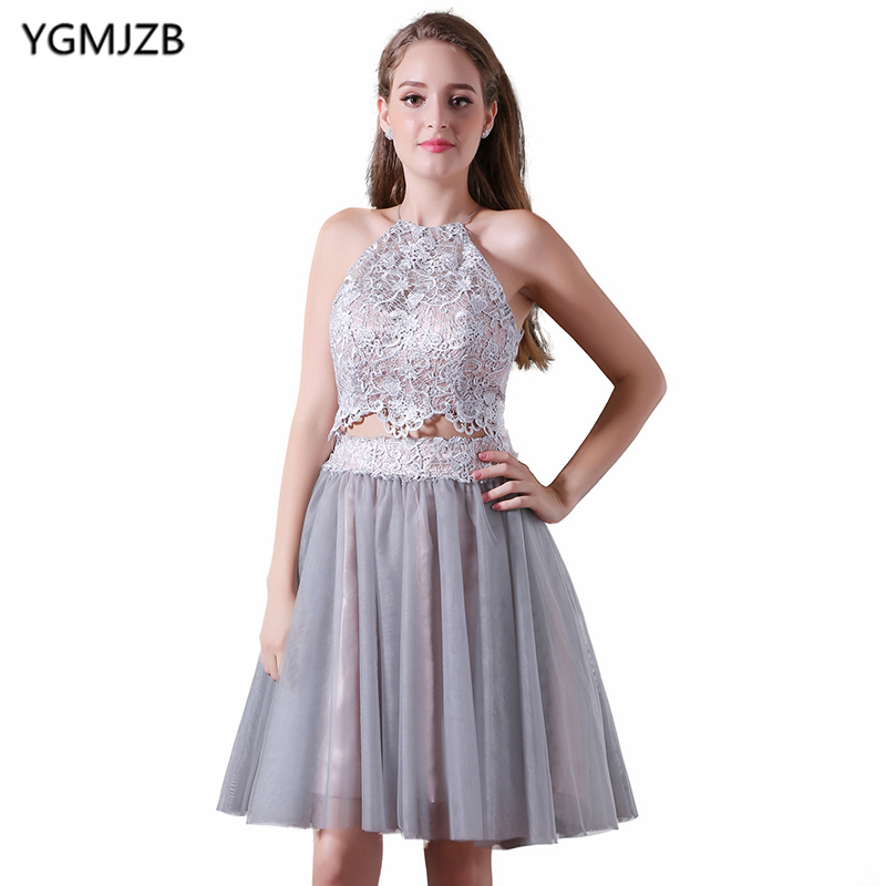 Sexy Short Cocktail Dresses 2019 A Line Halter Lace Chiffon Party Dress Two Piece Prom Dresses Backless Robe De Soiree Courte
