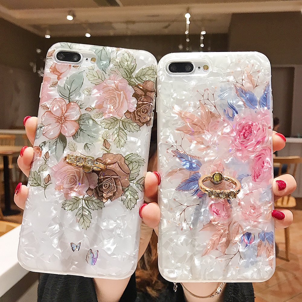 LOVECOM Retro Floral Ring Stand Phone Case For iPhone Models 6