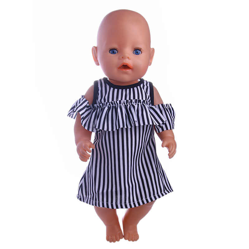 "Black and white striped dress fit for  43cm 18"" Doll  Doll , Children the best Christmas gift"
