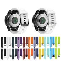 black silver Strap For Garmin Fenix 5S Watch Band Sports SmartWatch Pure Color Easy-Dismount 20mm Silicone Watch Belt Black/Silver Buckle (1)
