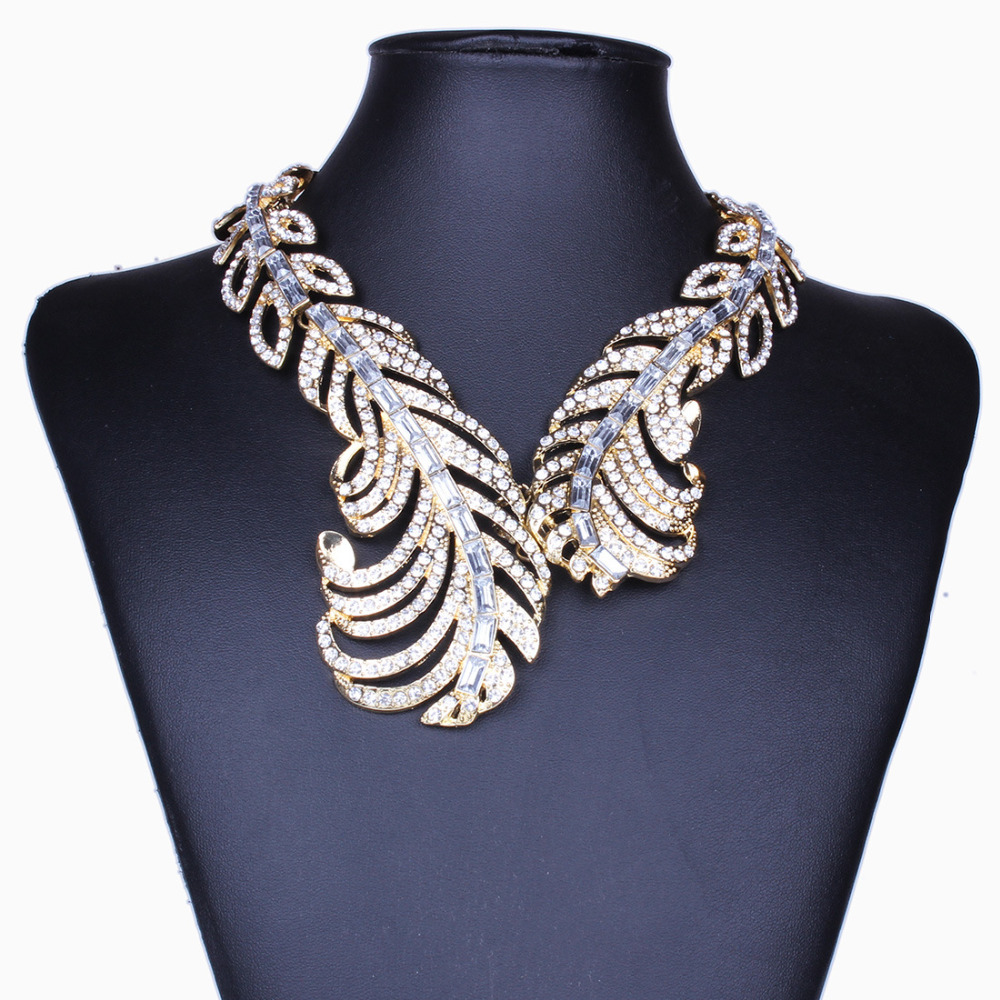 Statement Necklace 2018 Luxury Torques Big Vintage Necklace Women Feather Wing Crystal Necklace Nickel Free Jewelry vintage alloy tree leaf feather layered necklace