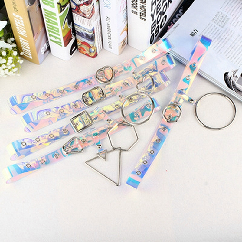 1pc 100cm Transparent Color Punk Waistband Fashion Rainbow Waist Belt Women Buckle Belts CZL8526