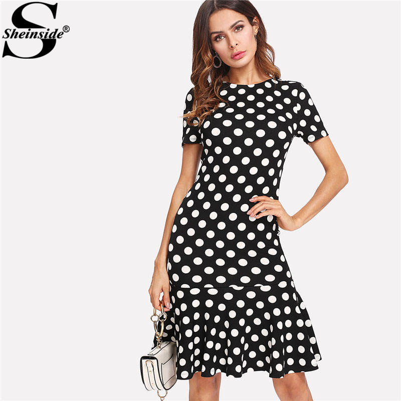 Sheinside Polka Dot Ruffle Hem Bodycon Dress 2018 Spring Sexy Round Neck Short Sleeve Sheath Dress Women Zipper OL Dress
