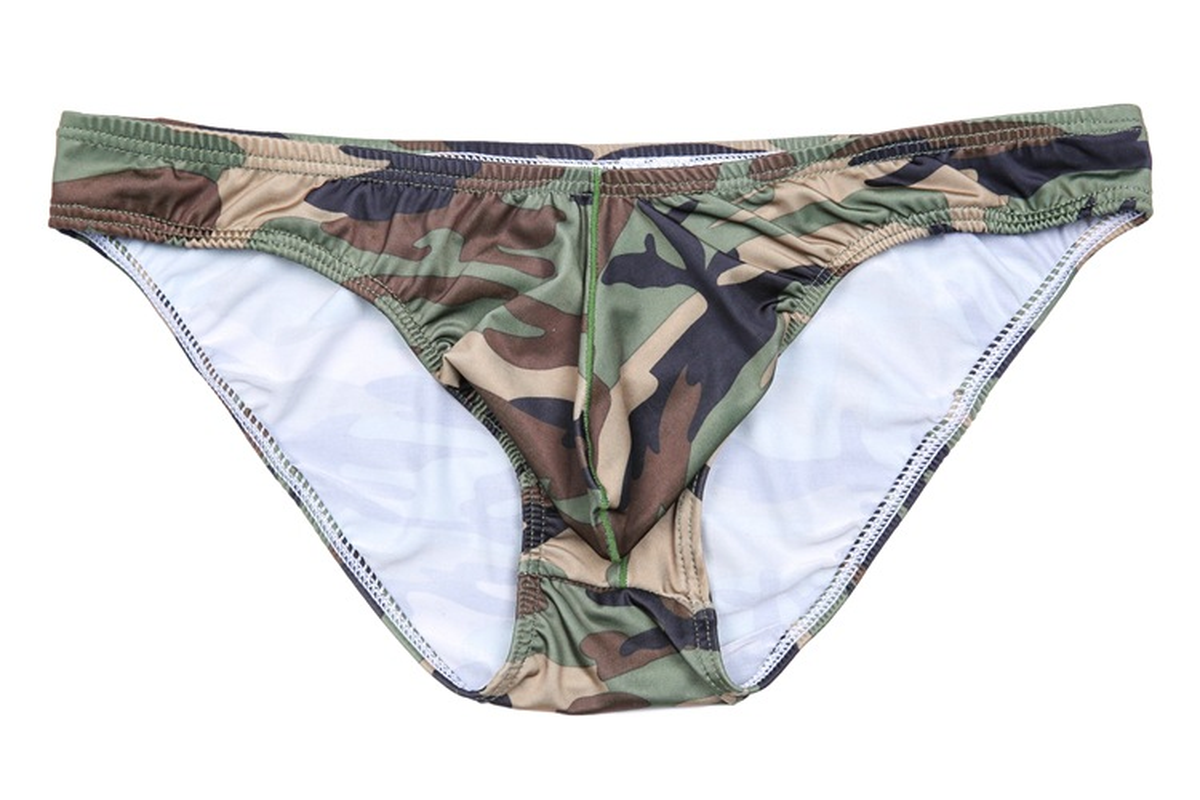 Men Sexy Soft Comfortable Seamless Underwear U Convex Penis Pouch Underpants Low-waist Camouflage Leopard Briefs Shorts