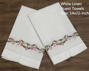 "Set Of 12 Handkerchiefs White Linen Hemstitched Tea Towel -14x22""Cloth Guest Hand Dish Kitchen Bathroom Towels Embroidery Floral"