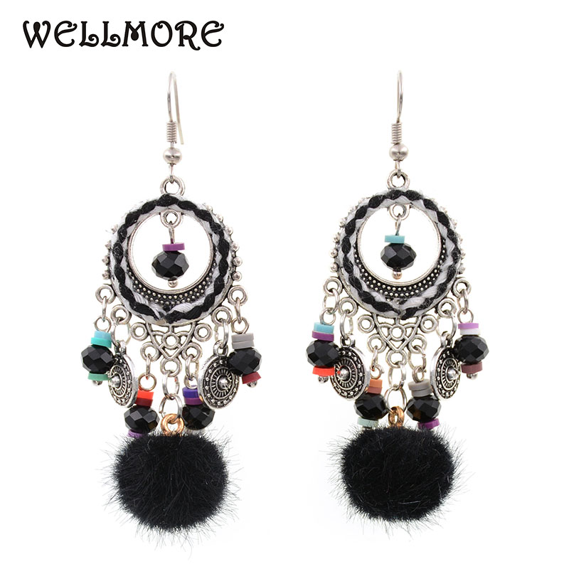 WELLMORE 2017 New Style Crystal &ball Earrings Long Earrings  For Women E171015-1