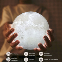 18cm LED Night Light 3D Print Simulation Moon Light Birthday Gift Night Light USB Touch Control