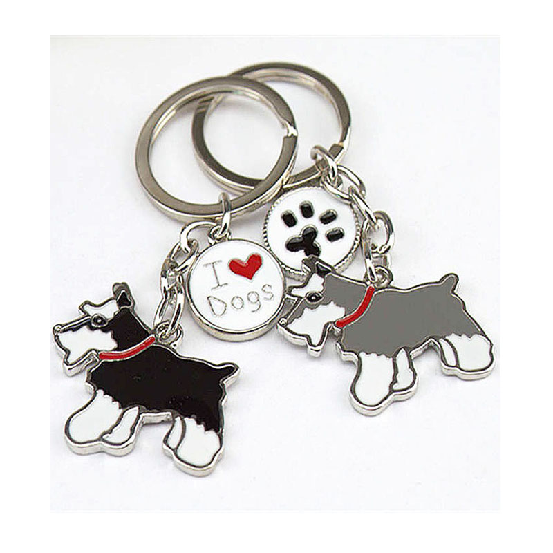 все цены на Jewelry Pet Key Chain Schnauzer Dogs Keychain DIY Bag Charm Pendants Metal Car Key Ring Gift Keychains Woman Key Buckle Tag Key