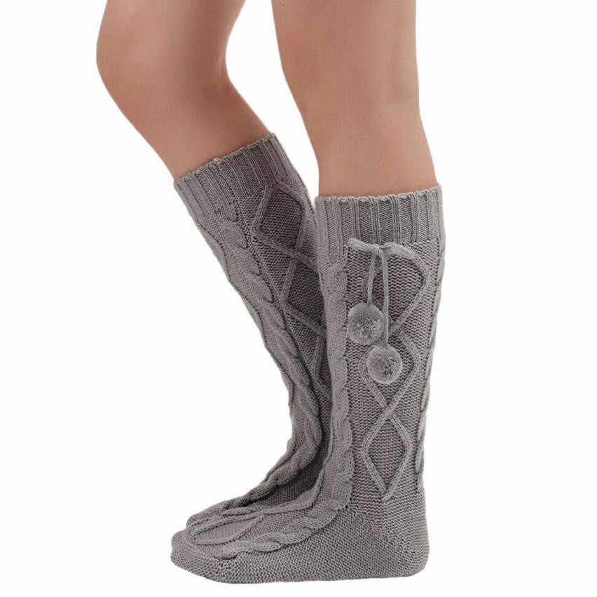 ผู้หญิงถักบูตยาวถุงเท้าต้นขาสูงถุงเท้าโครเชต์B Ootบุรุษอุ่นขายาวPolaina Para Botas #122