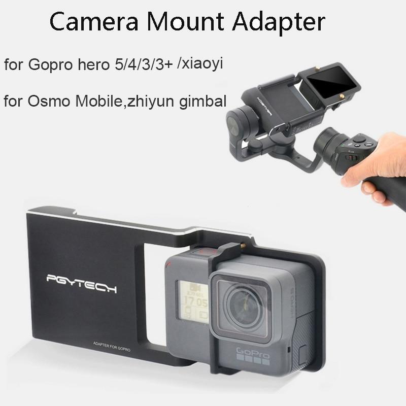 Prix pour PGY Adaptateur pour GoPro hero 5/4/3/3 + Commutateur Montage Plaque pour DJI osmo Mobile/zhiyun lisse C/lisse 2 Brushless Cardan Stabilisateur
