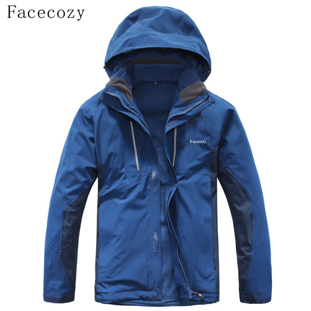 Facecozy Men Softshell Waterproof Jackets 2 piece Removable Fleece Coat Climbing Ski Outdoor Sports Windproof Warm Winter Jacket men and women winter ski snowboarding climbing hiking trekking windproof waterproof warm hooded jacket coat outwear s m l xl