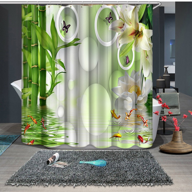 Bamboo Lotus And Butterfly Pattern New 3 Shower Curtains Bathroom Curtain Waterproof Thickened Bath Curtain Customizable