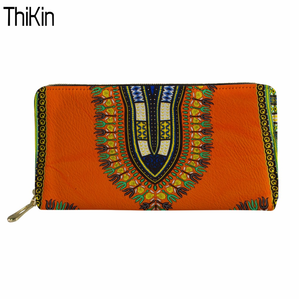 Thikin Long Wallets Women Card Holders Clutch Purse African Traditional Tribal Ethnic Ladies Wallet for Female Coin Pocket bags