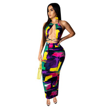 Women Beach Halter Lace Up Sexy Sleeveless Open Back Colorful Tie-dyed Print Maxi Dress Bodycon Midi Long Dresses 2 Color 3683