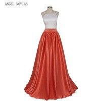 ANGEL NOVIAS Long 2 Pieces Red Carpet Celebrity Dresses 2017 Sleeveless Formal Prom Dress